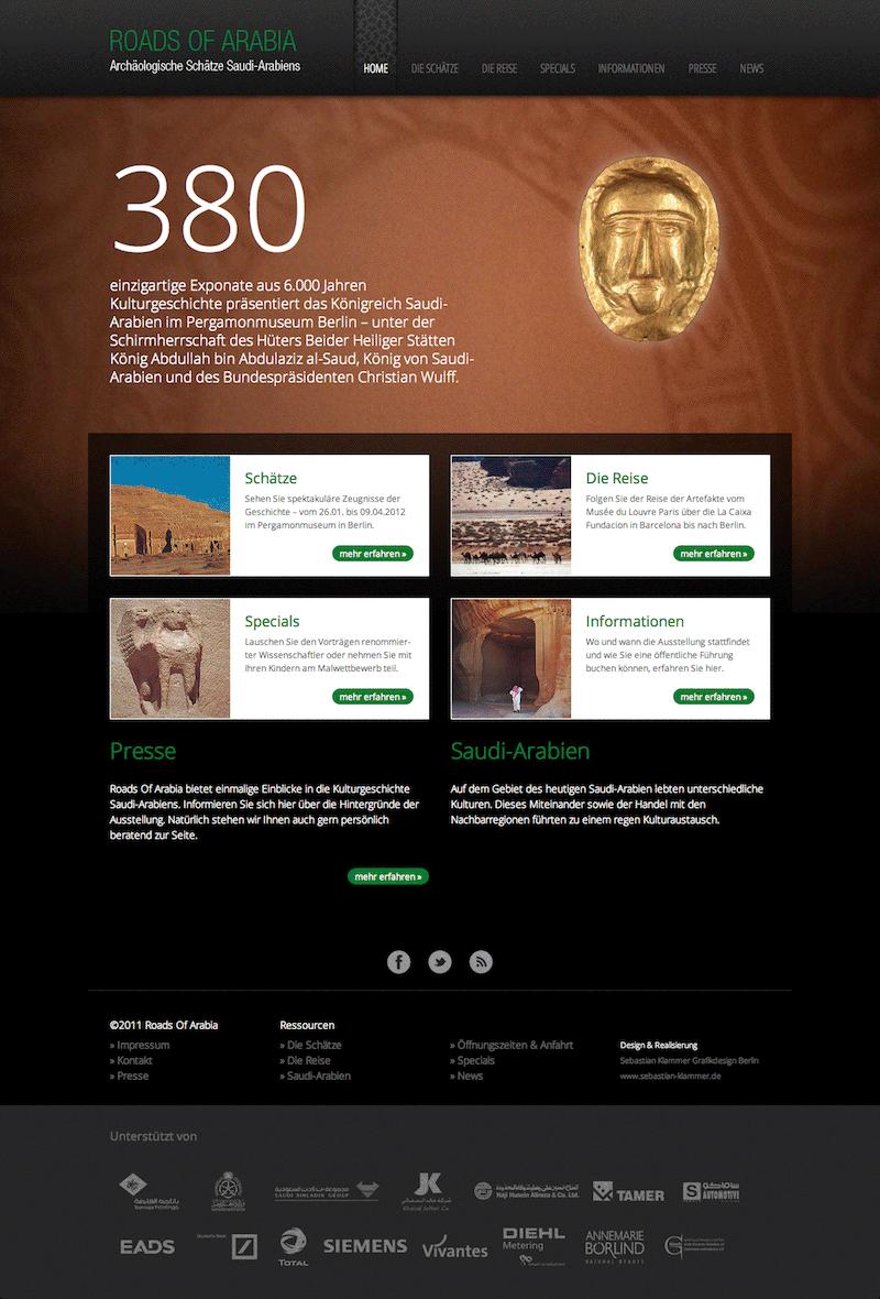 Die Website zur Ausstellung Roads of Arabia 2012 im Pergamonmuseum