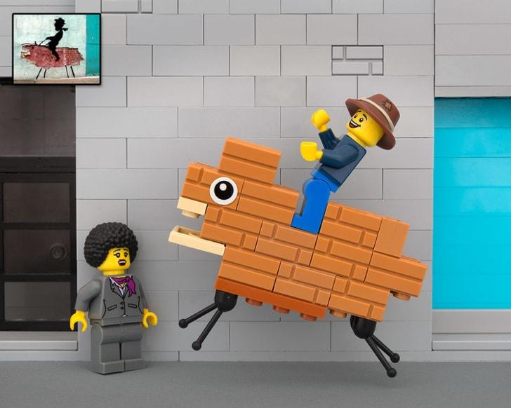 Bricksy Lego diorama of Banksy's brick cowboy.