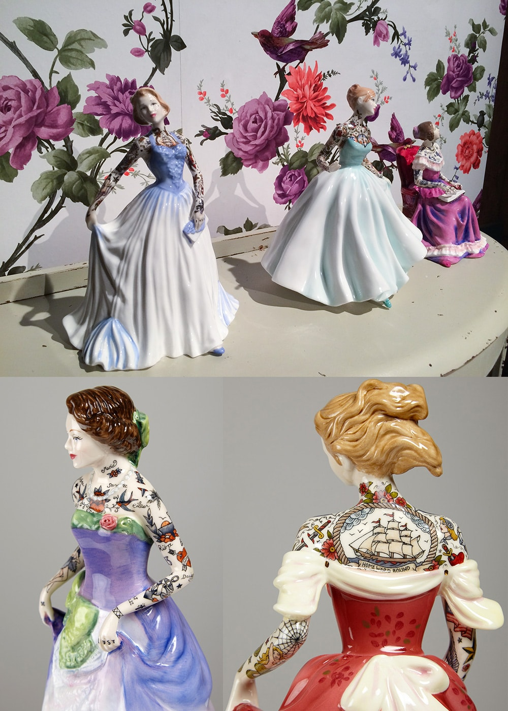 Tattooed Porcelain Figures by Jessica Harrison / Top photo by Christopher Jobson for Colossal