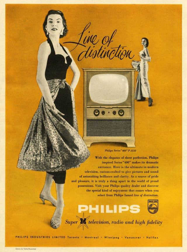 TV-geräte-Werbung aus den 19050ern